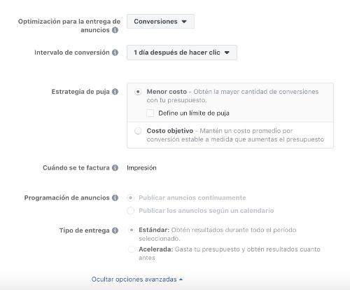 Opciones avanzadas anuncios facebook