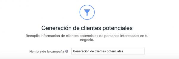objetivo Generación de clientes potenciales
