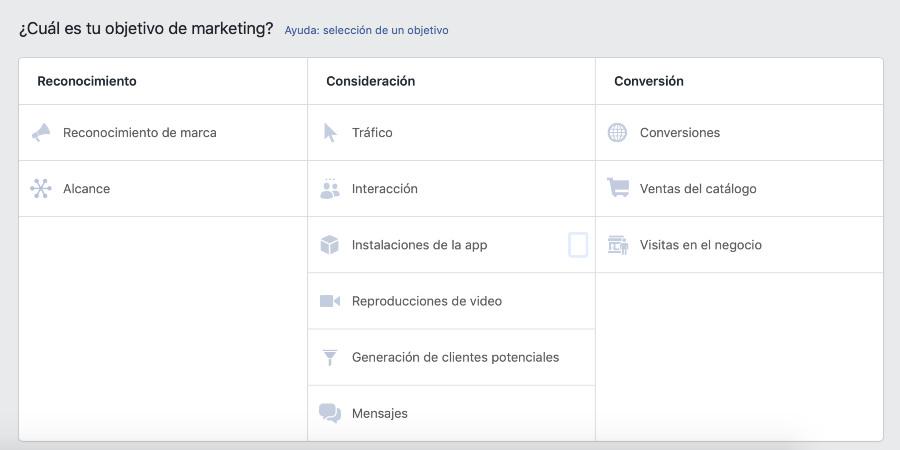 objetivos de Facebook Facebook Ads