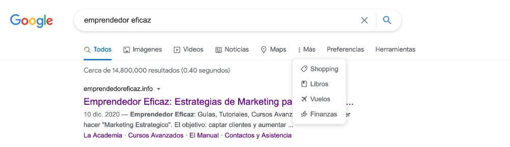 en que categorias busca google